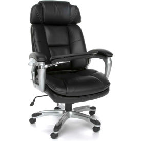 OFM Oro Series Ergonomic Adjustable-Bolster Executive Conference Chair with Tablet, Leather, Black