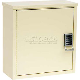 "Omnimed® Patient E-Lock Security Wall  Cabinet, 1 Adj. Shelf, 16""W x 8""D x 16-3/4""H, Light Gray"