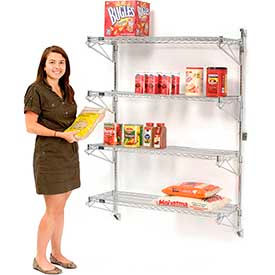 Wall Mount Adjustable Wire Shelving Units-Four Shelf 63