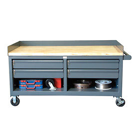 Mobile Welded 12-Gauge Drawer Workbench with Retaining Lip Top
