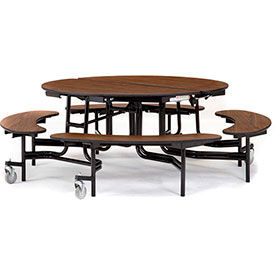 National Public Seating® Round Cafeteria Tables with Benches