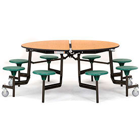 National Public Seating® Round Cafeteria Tables with Stools & MDF Top