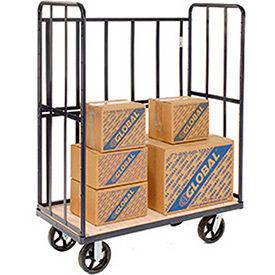 Global Industrial® 3 Sided Tubular Frame 2 Wood Shelf Bulk Trucks