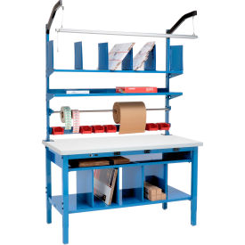 Global Industrial™ Complete Electric Packing Workbench with Riser & Lower Shelf Kit