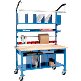 Global Industrial™ Complete Electric Mobile Packing Workbench with Riser & Lower Shelf Kit