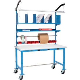 Global Industrial™ Pre-Configured Electric Mobile Packing Workbench with Riser