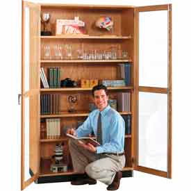 Clear Door Wood Storage Cabinets