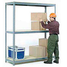 Made in USA - 7'H Boltless Wide Span Metal Storage Rack With Wood Deck