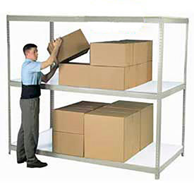 Made in USA - 8'H Boltless Wide Span Metal Storage Rack With Laminate Deck