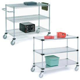 Nexel® Adjustable Chrome Wire or Solid Galvanized Shelf Utility Carts