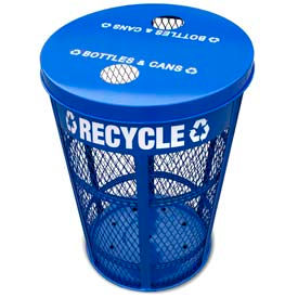Outdoor Expanded Metal Recycling Receptacle