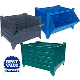 Global Industrial™ All Welded Stackable Steel Bulk Containers