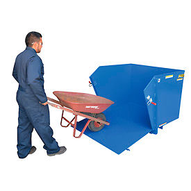Vestil Self-Dumping Steel Hoppers with Drop-Down Ramp