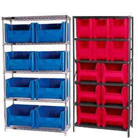Acier ou Chrome étagères avec bacs de trémie en plastique résistant
