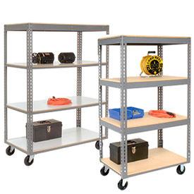 Global Industrial™ Easy Adjust Boltless Wood Shelf Storage Trucks
