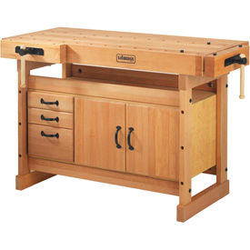 Beech Workbench with Cabinet Combs