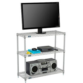 Nexel - Wire 3-Shelf Media Stand - Silver Epoxy