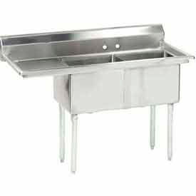 Freestanding Two Compartment Sinks With Left Drainboards