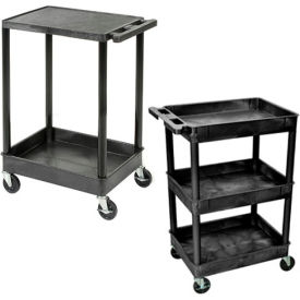 Luxor® Tray & Flat Shelf Plastic Utility Carts