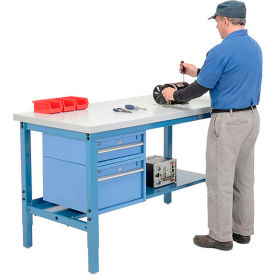 Pre-Configured Workbench Heavy Duty Height Adjustable  Workbenches with Drawers and Lower Shelf - Blue