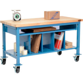Global Industrial™ Pre-Configured Mobile Packing Workbench with Lower Shelf Kit