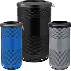 Global Industrial™ Perforated Steel Trash Receptacles