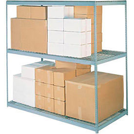 Made in USA - 7'H Boltless Wide Span Metal Storage Rack With Wire Deck