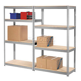 Made in USA - 7'H High Capacity  (Z-Beam) Boltless Metal Rack With Wood Deck