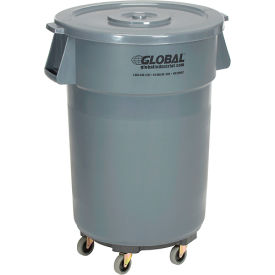 Global Industrial™ Plastic Garbage Cans with Lid & Dolly