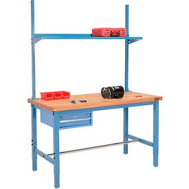 Global Industrial™ préconfiguré Heavy Duty Height Ajustable Production Benches avec tiroir, montants et étagères