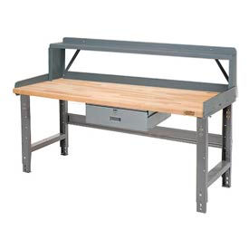 Global Industrial™ Pre-Configured Height Adjustable Workbench with Drawer, Riser and Backstops
