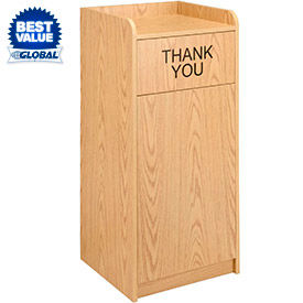 Global Industrial™ Wooden Tray Top Waste Receptacle