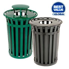 Global Industrial™ Outdoor Metal Slatted Waste Receptacles