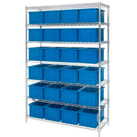 Chrome Wire Shelving With Dividable Grid Containers