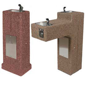 Concrete Outdoor Pedestal Mount Drinking Fountains