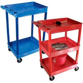 Luxor® Colored Tray Shelf Plastic Utility Carts