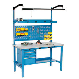 Global Industrial™ Heavy Duty Height Adjustable Production Bench - Blue