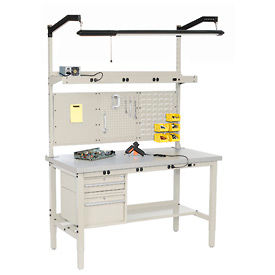 Global Industrial™ Heavy Duty Height Adjustable Production Bench - Tan
