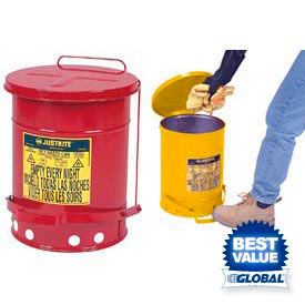 Justrite® Step On Oily Waste Cans