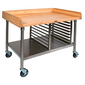 NSF Approved Mobile Maple Top Food Preparation Tables