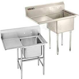 Freestanding One Compartment Left Drainboard Stainless Steel Sinks
