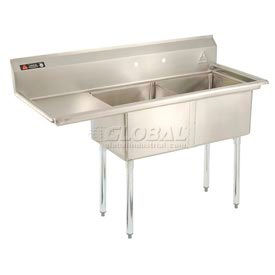 Freestanding Multiple Compartment Stainless Steel Sinks With One Drainboard