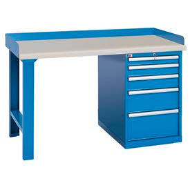Industrial Pedestal Workbenches With Back Stop
