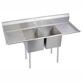Freestanding Multiple Compartment Stainless Steel Sinks With Two Drainboards