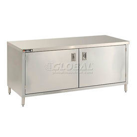 Premium Stainless Steel Flat Top Cabinet Tables With Hinged Doors