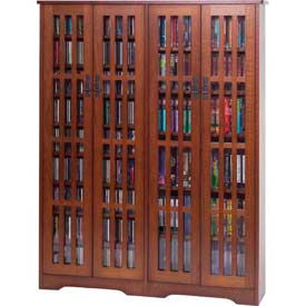 Leslie Dame -  Solid Oak Veneer Multimedia Storage Cabinet Glass Doors Mission Style