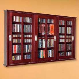 Leslie Dame -  Solid Oak Wall Mounted Sliding Glass Door Multimedia Storage Cabinets