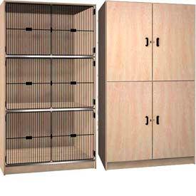 Armoires de rangement bois de bois de fer - solide, porte du gril & Front ouvert