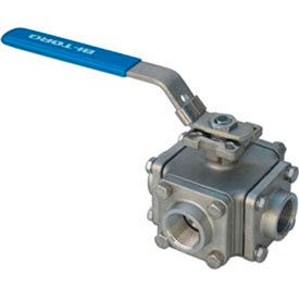 BI-TORQ® 3-Way Manually Operated L-Port SS NPT Threaded Ball Valves