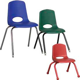 ECR4KIDS® - School Stack Chairs - Chrome, Matching Color or Black Frame